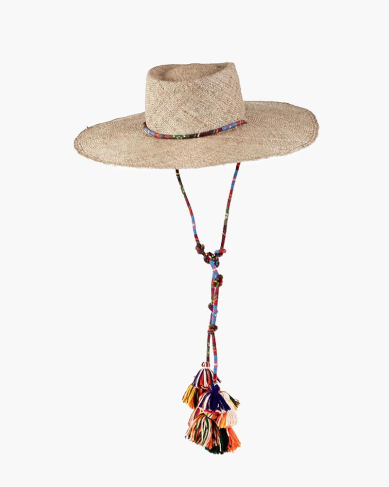 WIDE-BRIM HAT WITH TASSLES